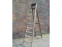 Vintage Wooden Step ladders 7ft, Display, Wedding,Shelves,Shop Prop,Shabby Chic,Rustic,Barn Find