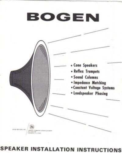 BOGEN SPEAKER INSTALLATION INSTRUCTIONS