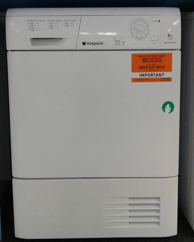 H083 white hotpoint 8kg condenser dryer comes with warranty can be delivered or collected