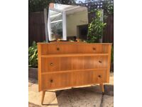 Retro mid century dressing table with mirror / chest of drawers