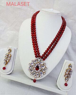 Indian Designer Long Jewelry Heavy Big Kundan Pearl Necklace Set Party Wear