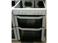 l342 white belling 60cm ceramic hob double oven electric cooker comes with warranty can be delivered