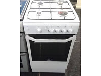*61 white indesit 50cm single door gas cooker comes with warranty can be delivered or collected