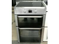 a190 stainless steel beko 60cm double oven ceramic hob electric cooker comes with warranty
