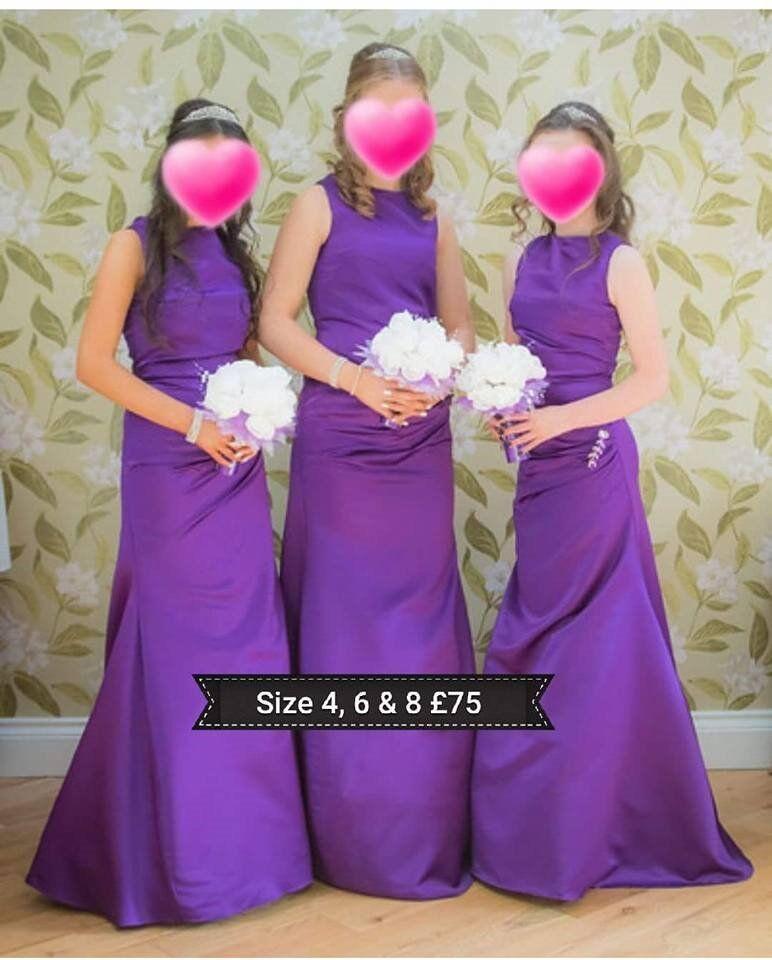 cadbury purple beautiful bridesmaid dresses sz 4 , 6 and 8 £25 ...