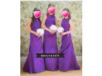 cadbury purple beautiful bridesmaid dresses sz 4 , 6 & 8 £25 pounds each. underskirts available too