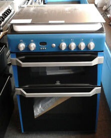 j382 blue indesit double oven gas cooker new with manufacturers warranty or collected