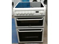 h036 white hotpoint 60cm double oven ceramic hob electric cooker comes with warranty can deliver