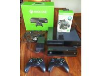 XBOX ONE AND KINECT...PLUS contollers x2 and docking charging station PLUS eight games