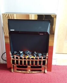 Electric Fire Brass Finish With Coals - 2 Settings Working Order