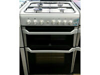 a519 white indesit 60cm double oven gas cooker comes with warranty can be delivered or collected