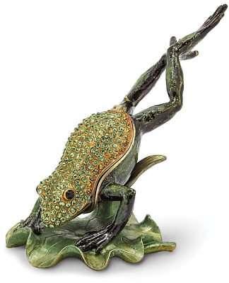 Bejeweled Frog - Bejeweled Diving Frog Trinket Box