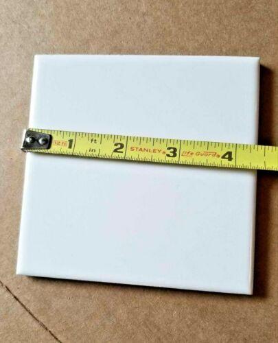 Sngl Glossy White Ceramic MCT Tile 4 3/8 Square Mid Century Modern Vintage Retro
