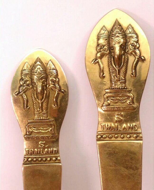 VINTAGE COPPER BRONZE CAKE KNIFE & SERVER SET HINDU GOD GANESH S. THAILAND