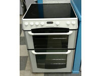 c741 white belling 60cm double oven ceramic hob electric cooker come with warranty can be delivered