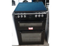 h091 black leisure 60cm double oven ceramic hob electric cooker comes with warranty can be delivered
