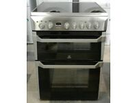 a197 stainless steel indesit 60cm double oven ceramic hob electric cooker come with warranty