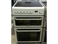 a668 white hotpoint 60cm double oven ceramic hob electric cooker comes with warranty