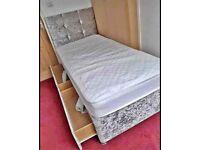 Excellent Quality Crushed Velvet Divan Bed Single Size Memory Foam Mattress