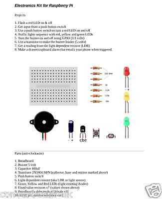 8 in 1 Electronics starter kit for Raspberry Pi. Parts, Instructions & Videos.](raspberry pi electronics starter kit)