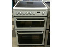 c668 white hotpoint 60cm double oven ceramic hob electric cooker come with warranty can be delivered