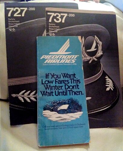 Piedmont Airlines 3 Items 1984 Safety Cards 737-200, 727-200 and 1986 Timetable