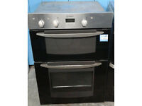 a214 black & stainless steel indesit double integrated electric oven comes with warranty