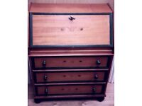 Italian made solid wood writing desk/bureau excellent condition with working key original features