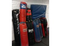 A selection of used but good punch bags & 1 crash mat for sale. #crashmat #punchbags