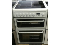 a624 white hotpoint 60cm double oven ceramic hob electric cooker comes with warranty