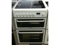 b624 white hotpoint 60cm double oven ceramic electric cooker with warranty can be delivered or coll