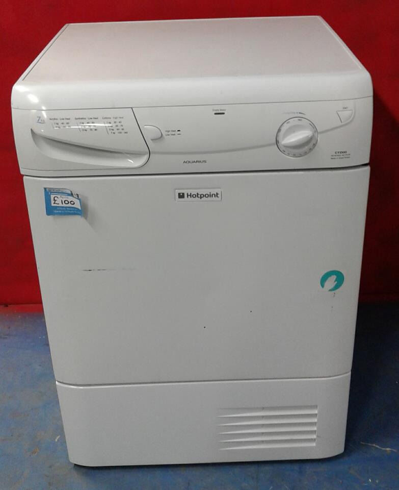 AA072 white hotpoint 7kg condenser dryer comes with warranty can be delivered or collected