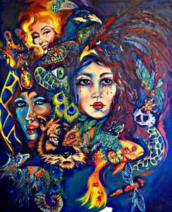 "HUGE Original OIL on canvas "" Chameleon "" by Artist Elisa Stee Reedy Creek Gold Coast South Preview"