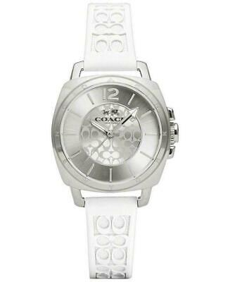 COACH Signature Boyfriend White Rubber Band Silver Case Woman's Watch