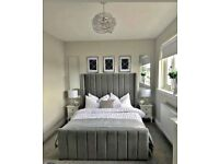 DOUBLE SIZE PLUSH VELVET ROYAL WING BED