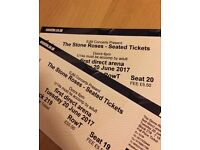 TWO LEVEL 2 SEATED Stone Roses Tickets