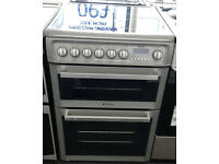 a006 silver hotpoint 60cm double oven ceramic electric cooker comes with warranty can be delivered