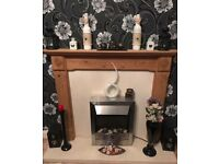 REAL PINE FIRE SURROUND WITH REAL MARBLE HEARTH AND BACK PLUS NEW ELECTRIC FIRE