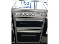 h006 silver hotpoint 60cm double oven ceramic hob electric cooker comes with warranty can deliver