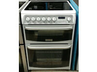 a419 white cannon 60cm double oven ceramic hob electric cooker comes with warranty can be delivered