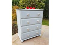 Chest of Drawers - Entirely Solid Pine Refinished in Grey & Silver Bedroom Dresser Storage Furniture