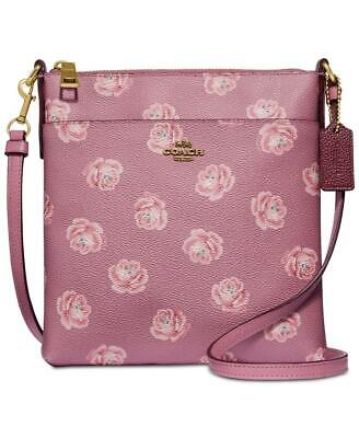 Coach Crossbody Rose Print Messenger Bag Colour Floral Pink/Gold