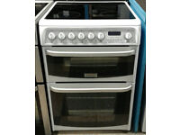 a419 white cannon 60cm double oven ceramic hob electric cooker come with warranty can be delivered