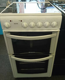 n151 white hotpoint 50cm ceramic hob electric cooker comes with warranty can be delivered