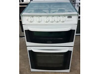 m496 white cannon 55cm double oven gas cooker comes with warranty can be delivered or collected