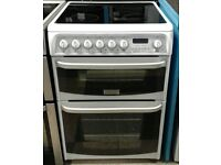 419 white cannon 60cm double oven ceramic electric cooker with warranty can be delivered