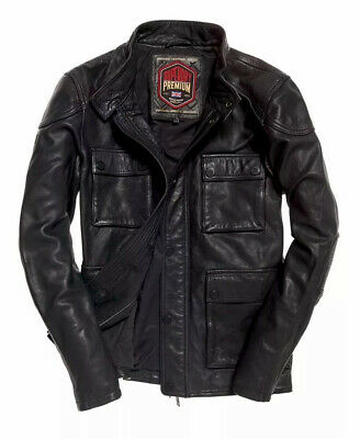 Superdry⚡️[$289] Leather rotor four pocket motorcycle moto biker jacket size XL