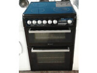 t160 black hotpoint 60cm double oven ceramic hob electric cooker comes with warranty can deliver