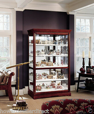 Howard Miller 680-235 Townsend -  Large Cherry Curio Display Cabinet Cherry Curio Cabinets