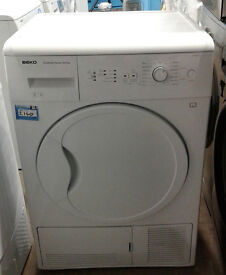 p319 white beko 8kg B rated condenser dryer comes with warranty can be delivered or collected